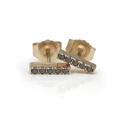 14K Rose Gold and Black Diamond Petite Bar Stud Earrings