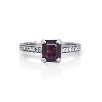 White Gold Engagement Ring Featuring Plum Coloured Octagonal Sapphire and Pave Diamonds