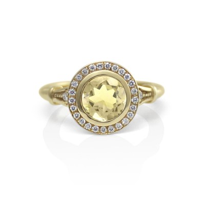 Yellow Gold and Yellow Sapphire Ring with Diamond Halo