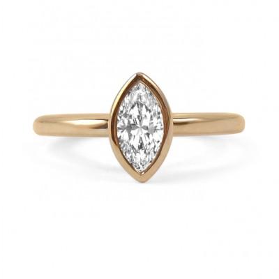 Bezel Set Marquis Diamond Engagement Ring