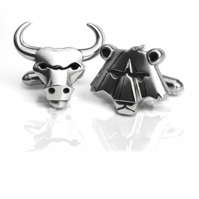 Handmade Sterling Silver Bull and Bear Cufflinks