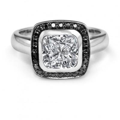 Cushion Cut Black and White Diamond Halo Engagement Ring