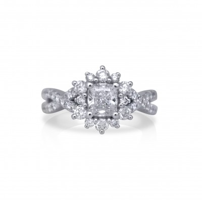 Cushion-Cut Diamond Engagement Ring with Twisted Band and Halo