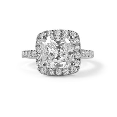 Cushion Cut Shared Claw Diamond Halo Engagement Ring