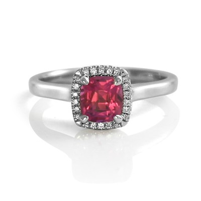 Cushion Cut Pink Sapphire Engagement Ring with Diamond Halo