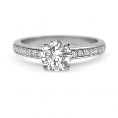 Diamond Engagement Ring with Pavé Band