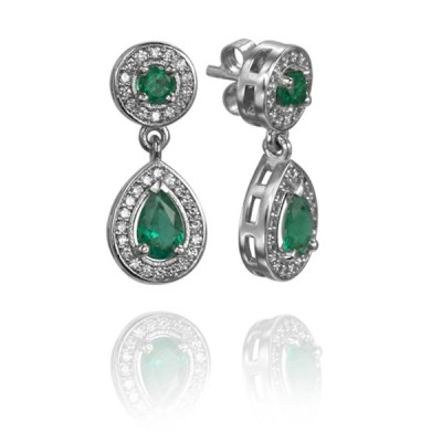 Custom Platinum Emerald and Diamond Earrings