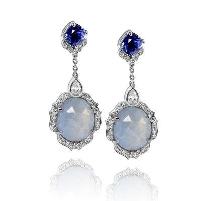 One of a Kind Custom Sapphire and Diamond Earrings