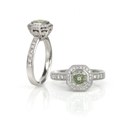 Green Diamond Engagement Ring Toronto