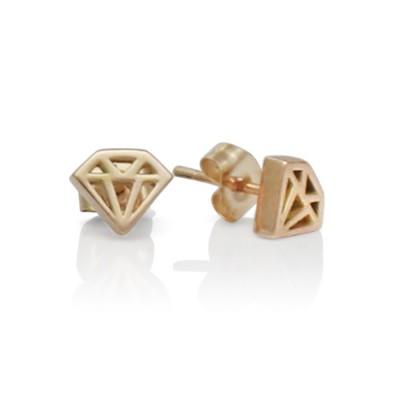 Handmade 14K Rose Gold Diamond Graphic Collection Petite Stud Earrings