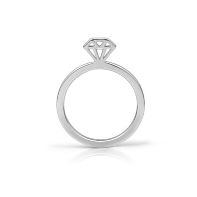 Handmade 14K White Gold Diamond Graphic Collection Outline Ring