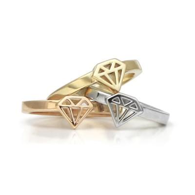 Handmade Diamond Graphic Collection Petite Singet Rings