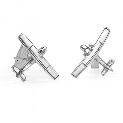 Handmade Sterling Silver Airplane Cufflinks