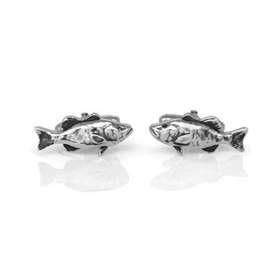 Handmade Sterling Silver Gone Fishing Bass Cufflinks