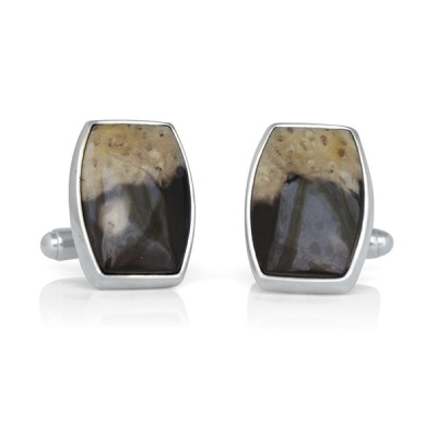Handmade Sterling Silver Black and Tan Petrified Wood Cufflinks