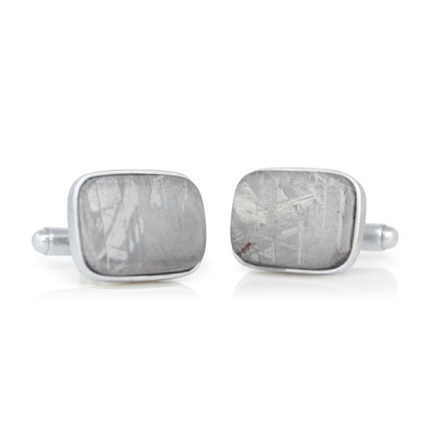 Handmade Sterling Silver Cushion Shaped Meteorite Cufflinks