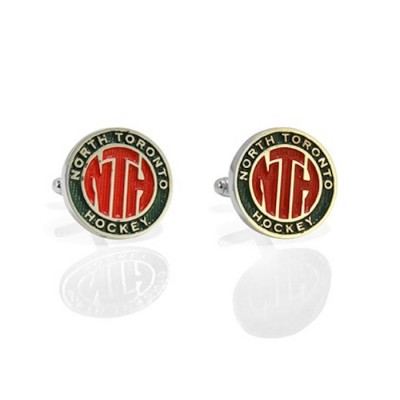 Handmade Sterling Silver North Toronto Hockey League Cufflinks