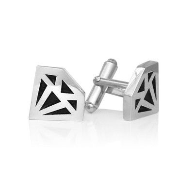 Handmade Sterling Silver Diamond Graphic Collection Cufflinks with Black Paint