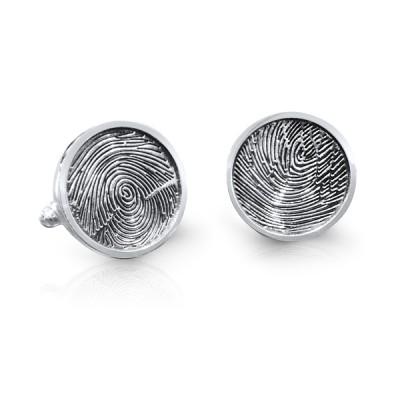 Handmade Round Sterling Silver Fingerprint Cufflinks