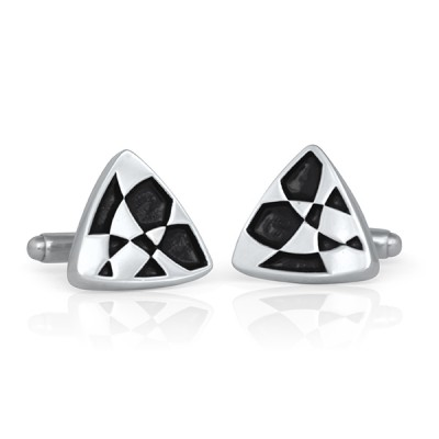 Handmade Sterling Silver Painted Navette Cufflinks Black