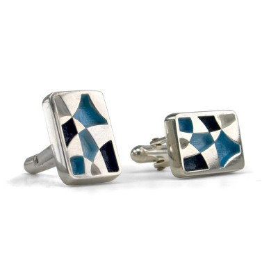 Handmade Sterling Silver Rectangular Painted Cufflinks Blues