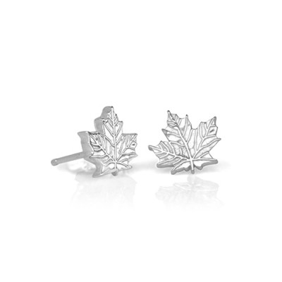 Handmade Petite Maple Leaf Earrings (7 mm)