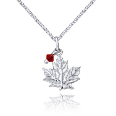 Handmade Sterling Silver Maple Leaf Charm Pendant with Red Crystal
