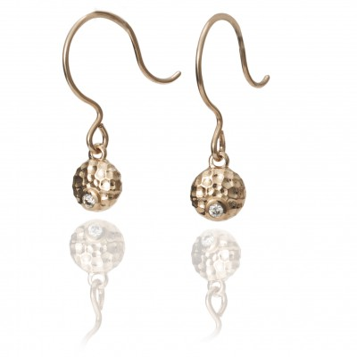 Rose Gold Luna Collection Dangle Earrings with Diamond Accent