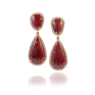 One of a Kind Rose Gold Ruby Slice and Diamond Earrings