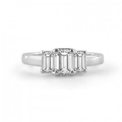 Three Stone Emerald Cut Diamond Engagement Ring