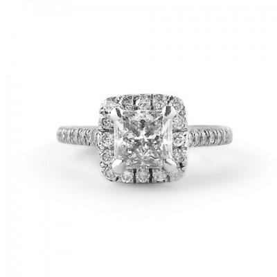 princess cut engagement ring with cushion shaped halo
