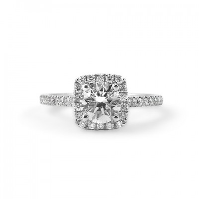 Round Diamond Engagement Ring with Cushion Shaped Halo