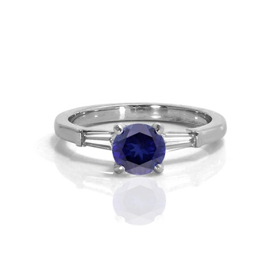 Sapphire Engagement Ring with Tapered Baguettes