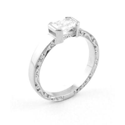 Radiant Cut Engraved Diamond Engagement Ring Toronto