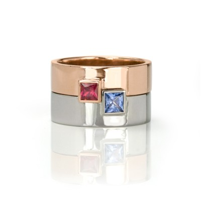 Ruby Sapphire Engagement Ring Set Toronto