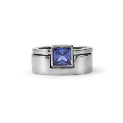 Sapphire Engagement Ring and Wedding Band Set