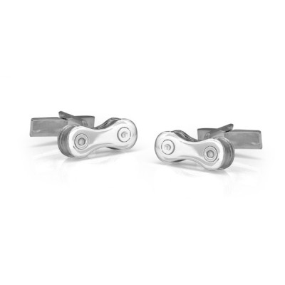 Handmade Sterling Silver Bike Chain Cufflinks