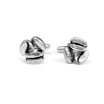 Handmade Sterling Silver Coffee Bean Cufflinks