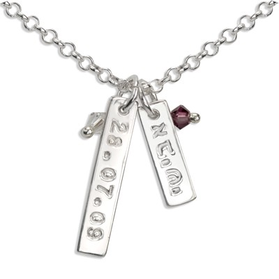 Hebrew Sterling Silver Name Charm Necklace with Swarovski Crystals