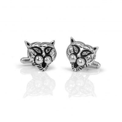 Handmade Sterling Silver Tiger Cufflinks