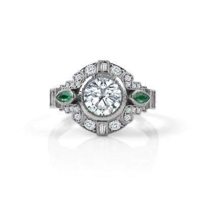 deco engagement ring with emerald accents studio1098