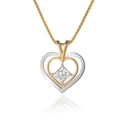 White and Yellow Gold Two-Tone Heart Pendant with Princess Cut Diamond