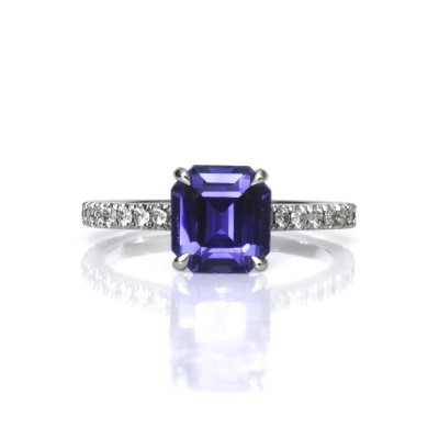 White Gold Emerald Cut Sapphire Engagement Ring with Pave Diamonds