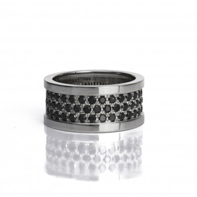 White Gold Wide Ring with Three Rows of Black Diamonds