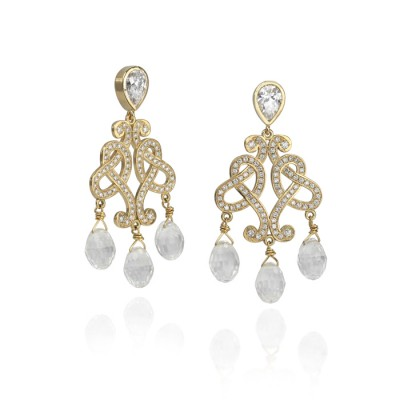 Yellow Gold and Diamond Chandelier Earrings