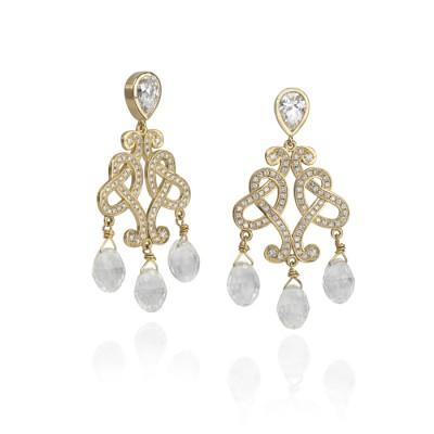 Yellow Gold and Diamond Chandelier Earrings