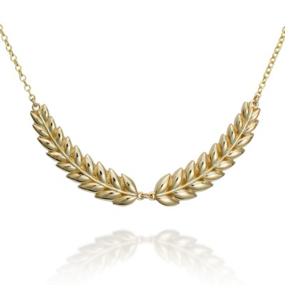 Yellow Gold Double Laurel Necklace