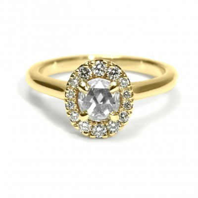 Yellow Gold Round Rose Cut Diamond Engagement Ring with Oval Halo