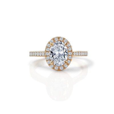 Yellow Gold Oval Diamond Halo Engagement Ring
