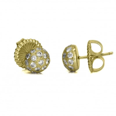 Yellow Gold Diamond Pave Disco Ball Studs